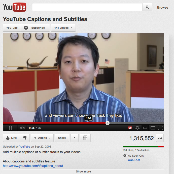 YouTube captioned video