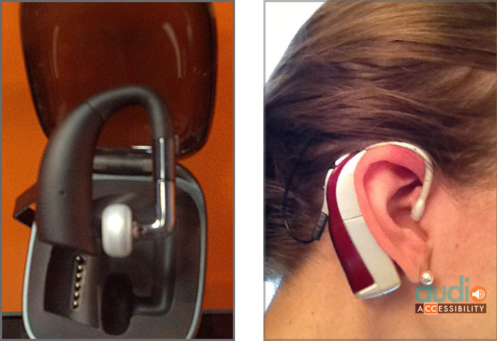 Bluetooth BTE on left and cochlear implant BTE on right