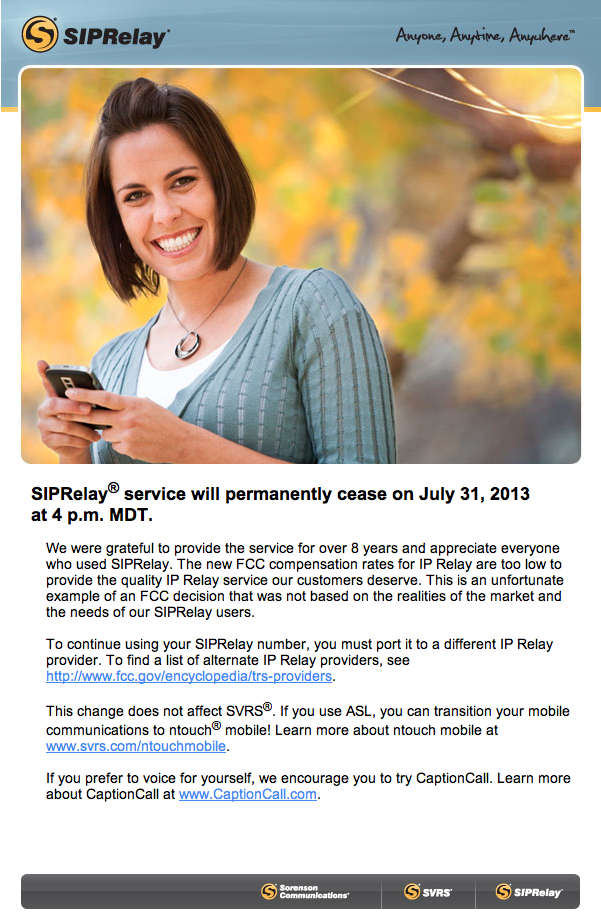 Screenshot of email message from Sorenson about discontinuing IP Relay Services