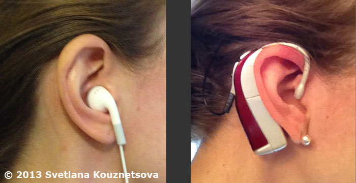 Two pictures with a left one showing an ear with an earbud and a right one showing an ear with a cochlear implant.