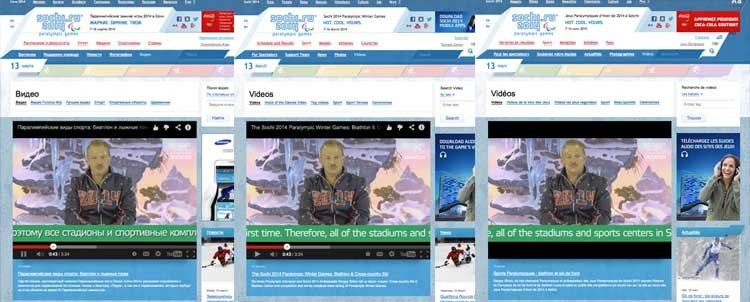 Videos in 3 versions of Sochi 2014 website - Russian, English, French