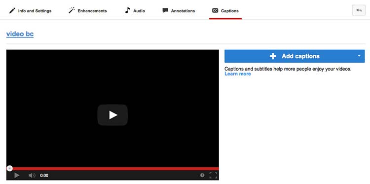 YouTube page screenshot showing an interface with a a panel that includes add captions link