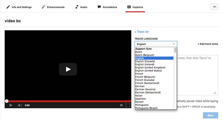YouTube page screenshot showing an interface with a track language drop down