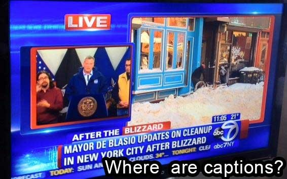 Clip of ABC7NY not showing captions for a post storm announcement by Mayor Blasio