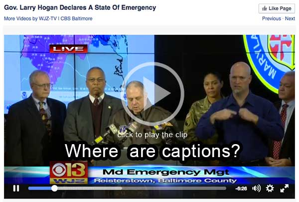 Video clip of an emergency announcement in Baltimore that was not captioned