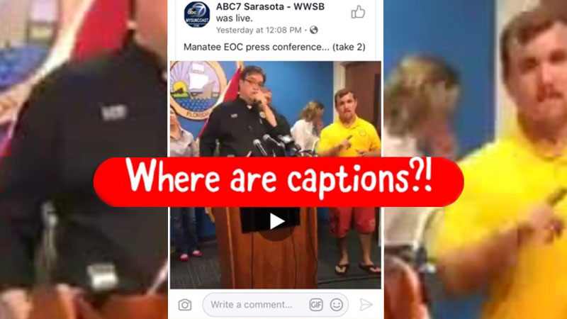 "Red bar saying ""Where are captions?!"" on a viral video about a not qualified interpreter in an yellow shirt during an emergency announcement about Irma"