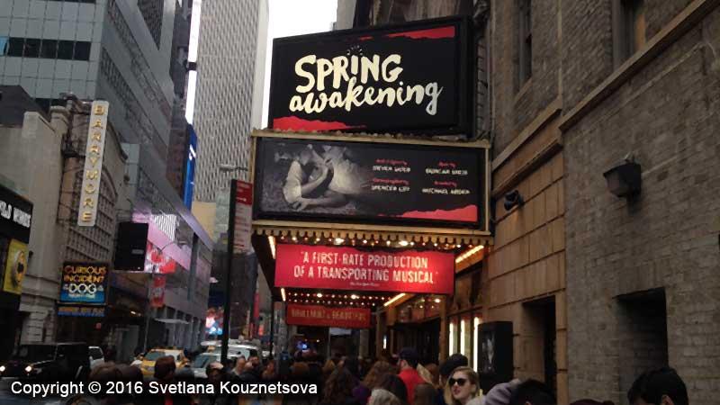 Theater entrance for Spring Awakening play