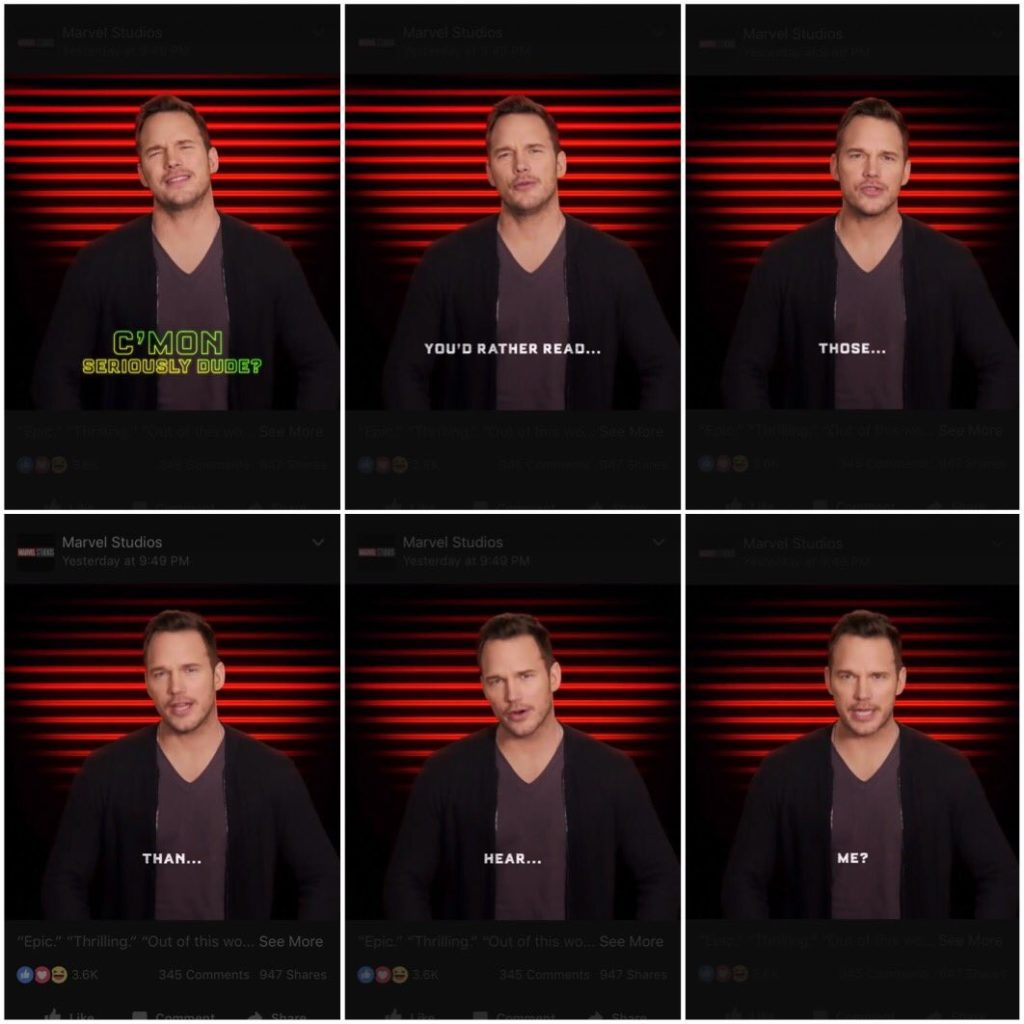 "6 frames with captions of Chris Pratt saying: ""C'mon seriously dude. You'd rather read those than hear me?"""